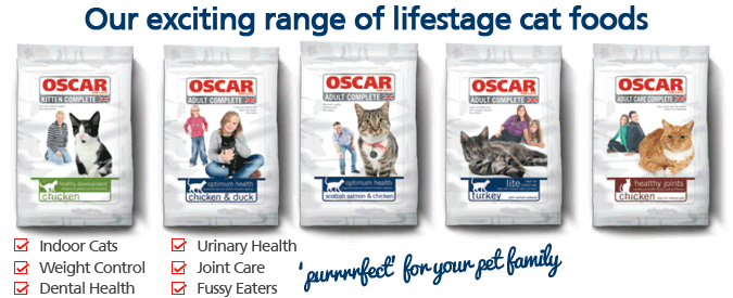 Oscar's new range of lifestage cat foods
